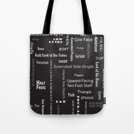 Yoga Positions - Style 1 (White on Black) Tote Bag