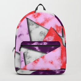 Triangles Layered Pattern in Red Purple and Pink Backpack