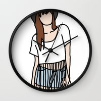 coachella Wall Clocks featuring Fringe Benefits Coachella Festival Girl by Highly Anticipated
