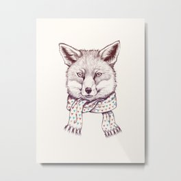 Fox and scarf Metal Print