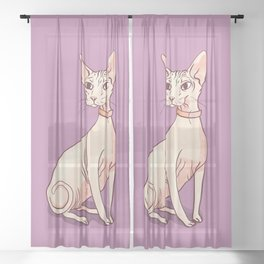 Nude Cat - Hairless Sphynx Kitty Wearing a Collar - Elegant - Wrinkles - Lilac Sheer Curtain