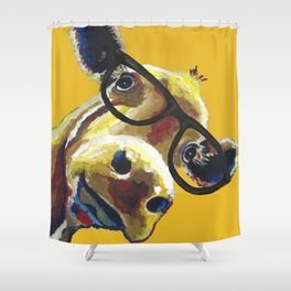 Yellow Glasses Cow, Cow up close glasses Shower Curtain