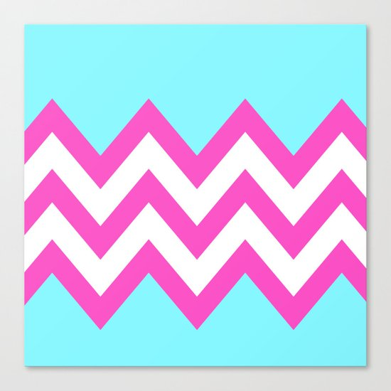 TEAL & PINK CHEVRON COLORBLOCK Canvas Print