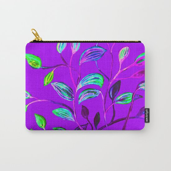 Neon Purple Pop Leaves Carry-All Pouch