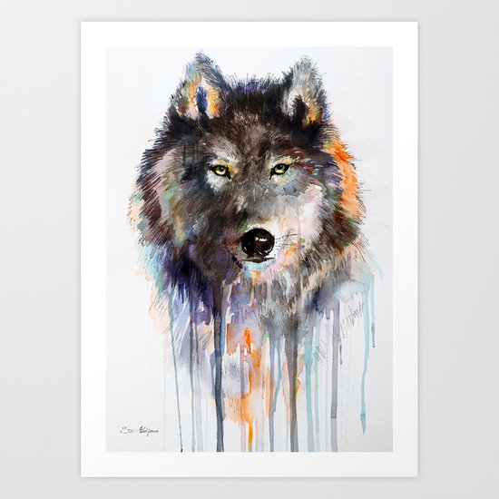 Charcoal Wolf Art Print