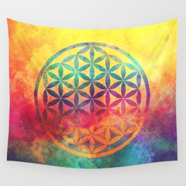 Rainbow Flower Of Life Wall Tapestry