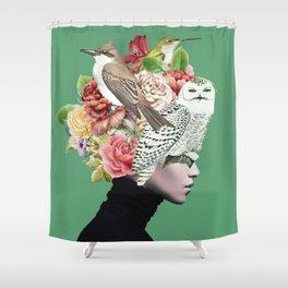 Lady with Birds(portrait) 2 Shower Curtain