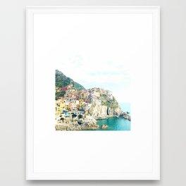little houses on the hillside - Cinque Terre, Italy Framed Art Print
