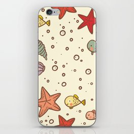 Cute Vintage Style Sea life Seamless Pattern iPhone Skin
