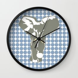 Rock Blue Safari Dot with Pop Art Elephant Wall Clock