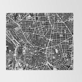 Madrid city map black&white Throw Blanket