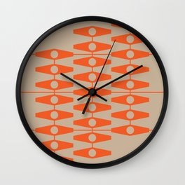 abstract eyes pattern orange tan Wall Clock
