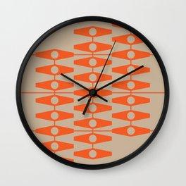 abstract eyes pattern orange tan Wall Clock
