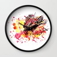 smaug Wall Clocks featuring Watercolor Smaug by Trinity Bennett