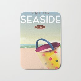 Visit the Seaside travel poster Bath Mat