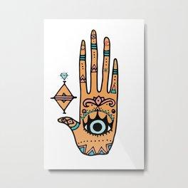 evil eye hand illustration Metal Print
