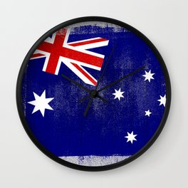Australian Distressed Halftone Denim Flag Wall Clock