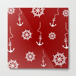 Red Nautical Pattern - Anchors and Steering Wheels Metal Print