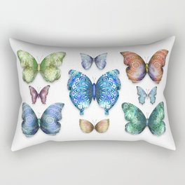 Butterfly Taxidermy // Beautiful Mandala Detailed Wings Design // Lime Green, Bright Blue, Gold Rectangular Pillow