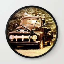 Ford in a Field Wall Clock