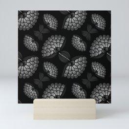 Bold Monochrome Floral Print Mini Art Print