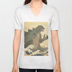 Godzilla Ukiyo-e  Unisex V-Neck