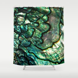 Shimmering Green Abalone Mother of Pearl Shower Curtain