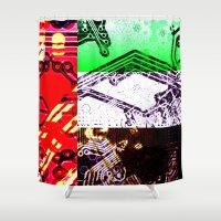 arab Shower Curtains featuring circuit board united arab emirates (flag) by seb mcnulty