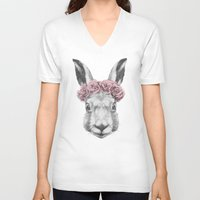 hare V-neck T-shirts featuring Hare  by Victoria Novak
