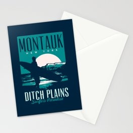 montauk ditch plains vintage surf poster Stationery Cards
