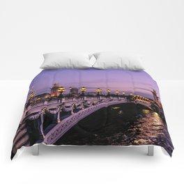 Sunset over Paris Bridge (Color) Comforters