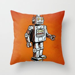 Retro Robot Toy Throw Pillow