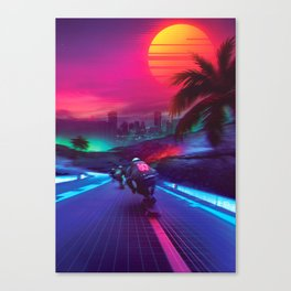 Synthwave Midnight Outrun Canvas Print