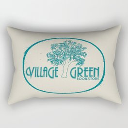 Village Green Bookstore Green on Tan Rectangular Pillow