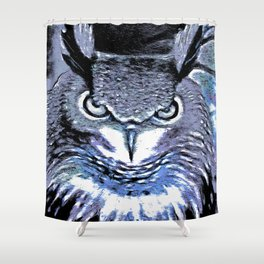 Grumpy Big eared Owl Shower Curtain