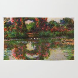 """Claude Monet """"Rose Arches at Giverny"""" Rug"""