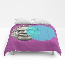 Gabriel Garcia Marquez - purple blue portrait Comforters