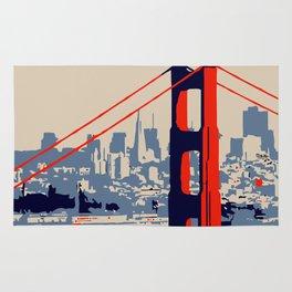 Golden gate bridge vector art Rug