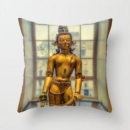 Golden Figurine Throw Pillow