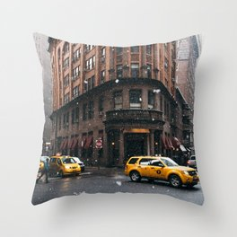 Snow showers in Financial District Throw Pillow