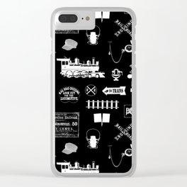 Railroad Symbols on Black Clear iPhone Case