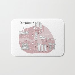 Mapping Singapore - Pink Bath Mat
