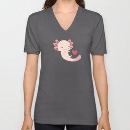 Axolotls, hearts and bubbles Unisex V-Neck