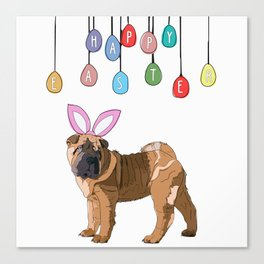 Happy Easter - Shar Pei Easter Bunny Canvas Print