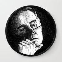 johnny cash Wall Clocks featuring Man In Black JCII Pointillism by Daniel Cash