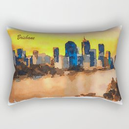 Sunset skyline of Brisbane city and Brisbane river Rectangular Pillow