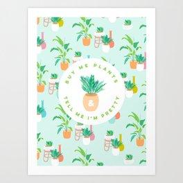 Cute self love tropical plant pattern - aqua Art Print