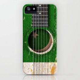 Old Vintage Acoustic Guitar with Pakistani Flag iPhone Case