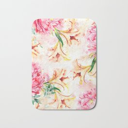 Peony Floral #society6 #floral #watercolor Bath Mat