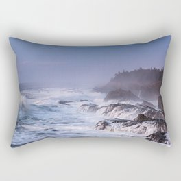 A Huge Barrel Wave and Waterfalls During Sunset at Shore Acres State Park in Oregon Rectangular Pillow